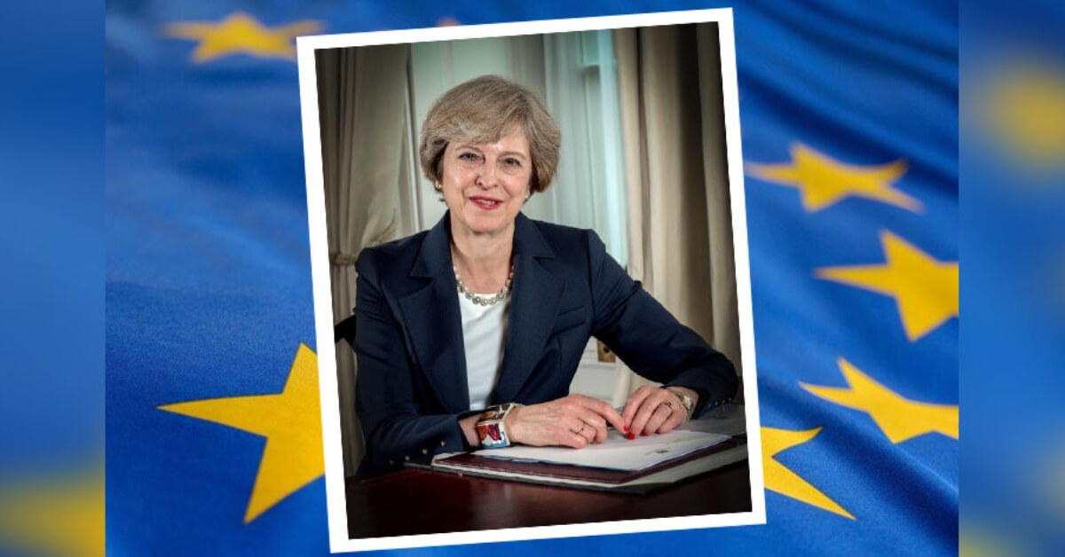 Theresa May eu flag
