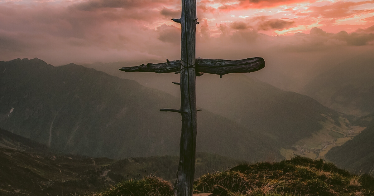 a rugged crossed on a mountain like the one that Jesus spoke his final words on
