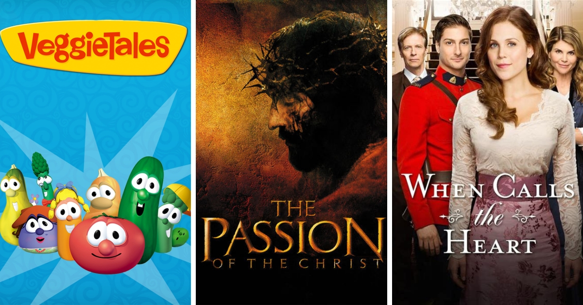 Show Promotional Posters for Veggietales The Passon of the Christ and When Calls the Heart
