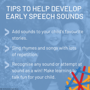 A screenshot from the app of tips to help develop early speech sounds