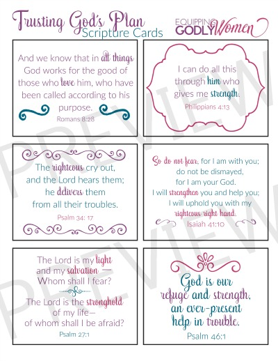 a printable with 6 bible verses for hard times supplied by Equipping Godly Women