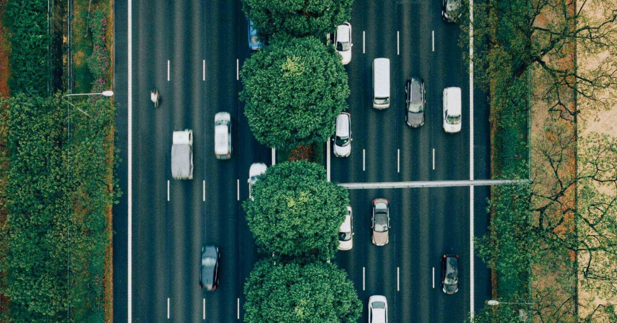 aerial perspective of cars on a road