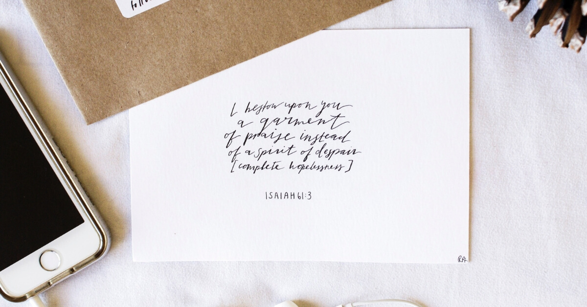 Isaiah 61:3 bible verse handwritten on card