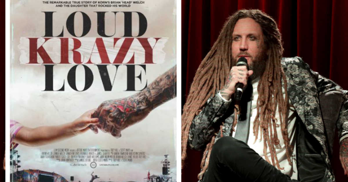 Brian Welch holding microphone in interview about new movie