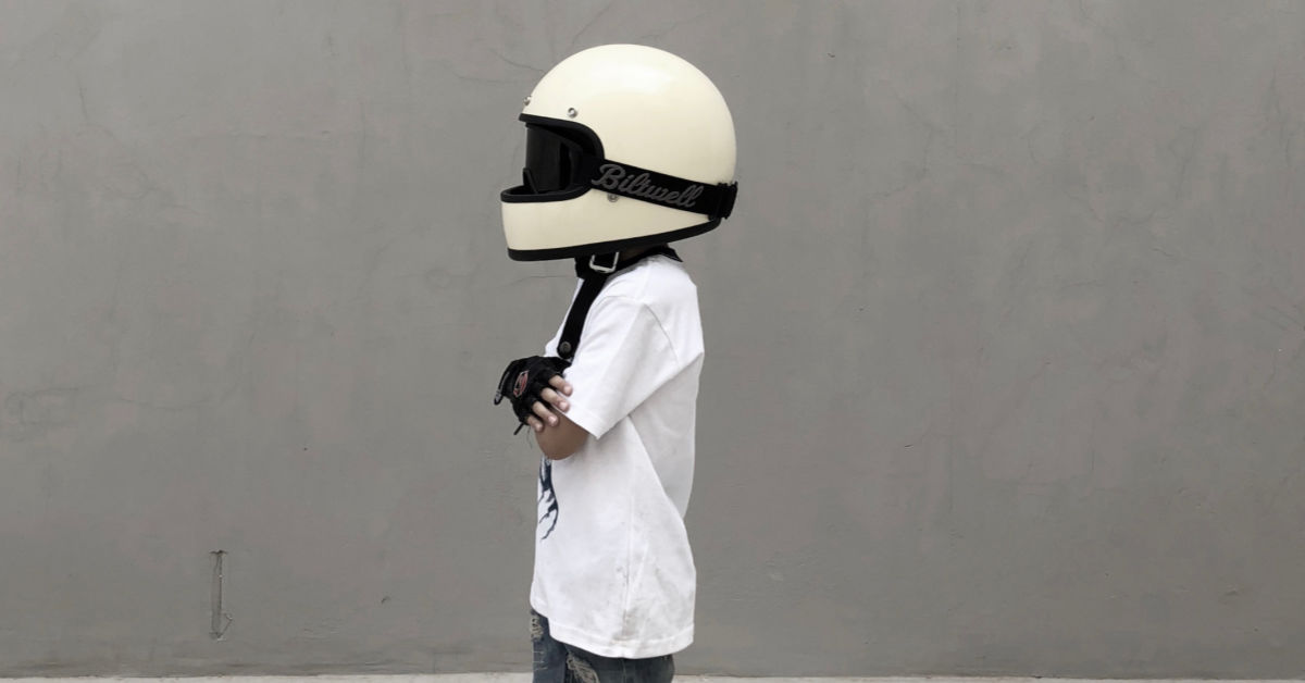 boy wearing helmet