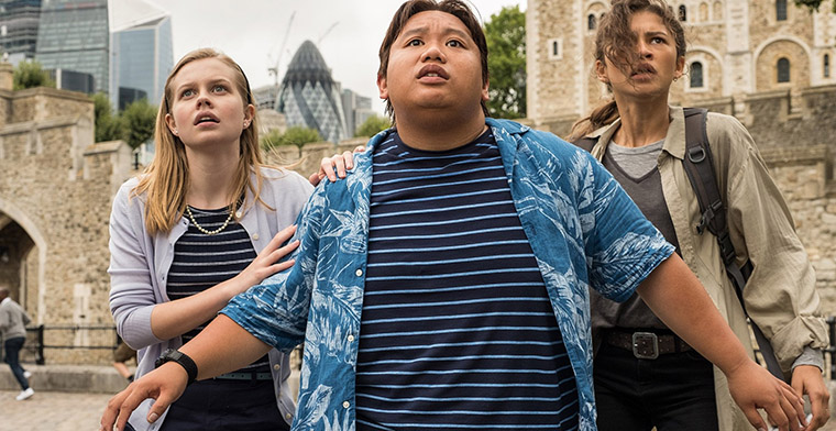 Angourie Rice, Jacob Batalon and Zendaya in Spiderman Far From Home