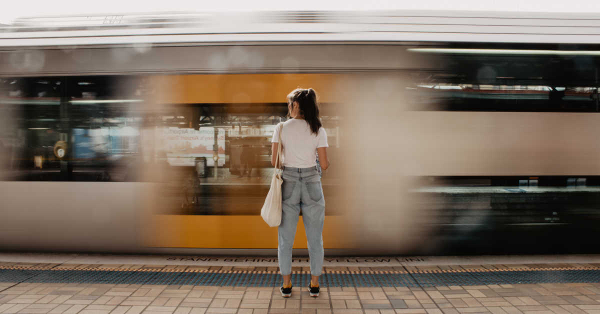 Woman catching train