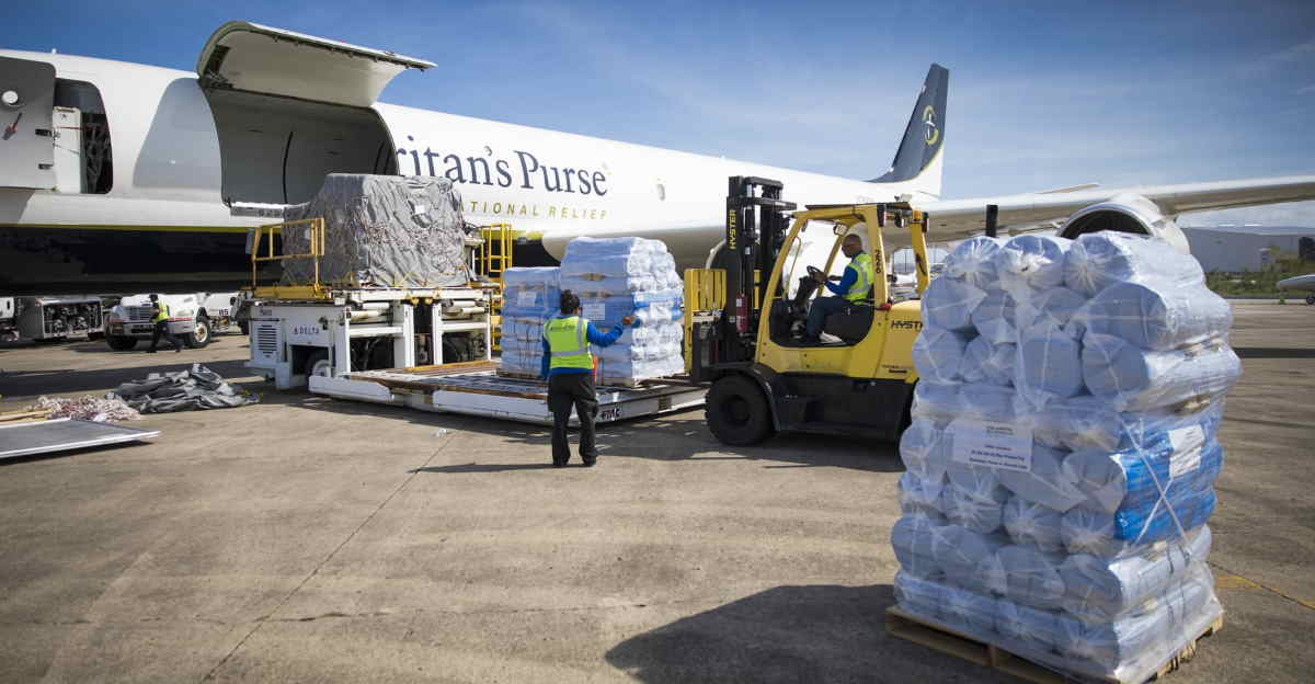 Supplies being loaded onto Samaritan Purse's aircraft for deployment to hurricane affected areas