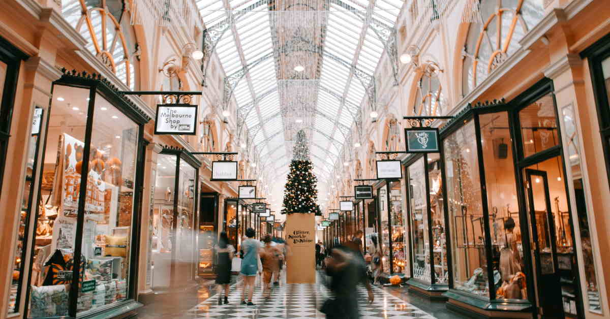 shoppers in busy retail sector during Christmas season