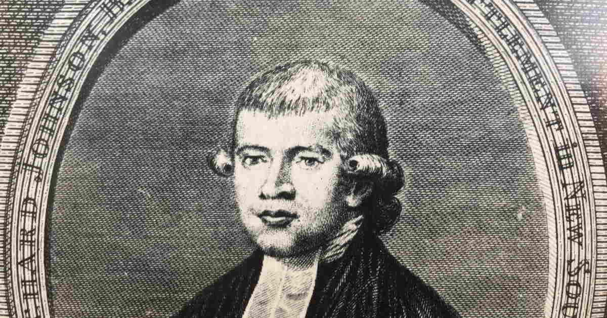 hisotric looking black and white illustrated image of Rev Richard Johnson