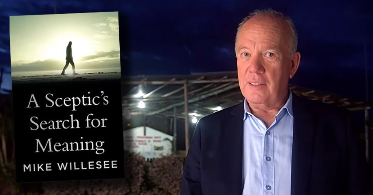 Front cover of Mike Willesee's Book, plus a shot of Mike talking to camera