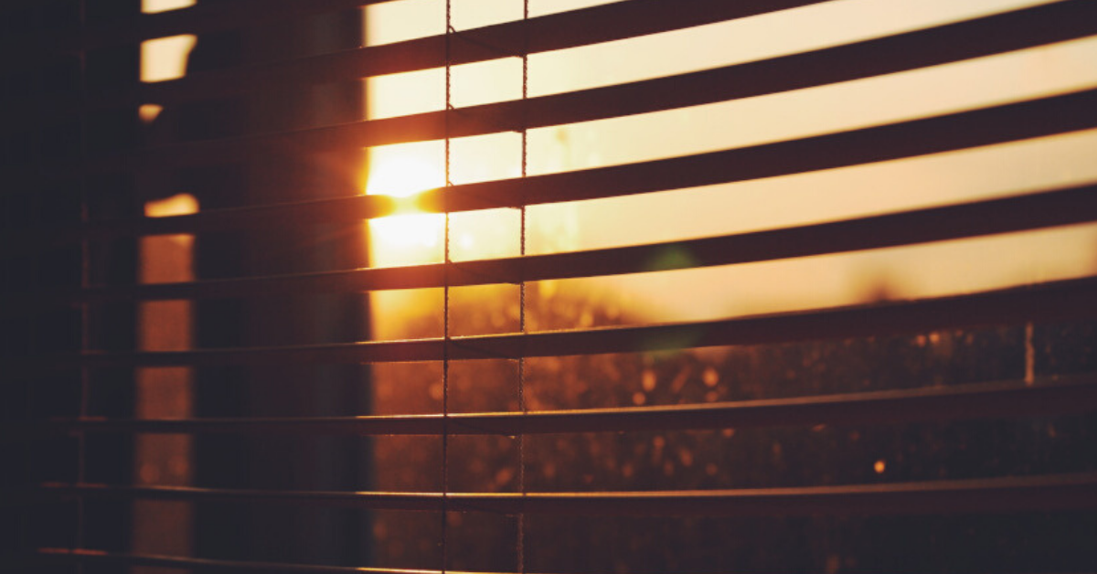 window shutters at sunset