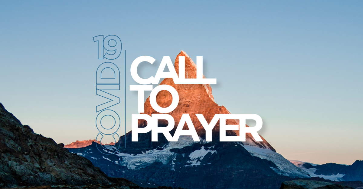 The words COVID-19 and Call to Prayer with Mountain in the background