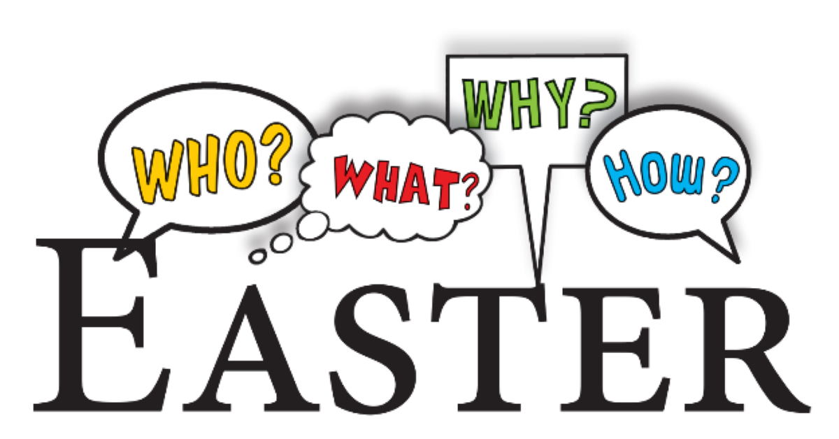 The word EASTER with speech bubbles asking Who? What? Why? How?