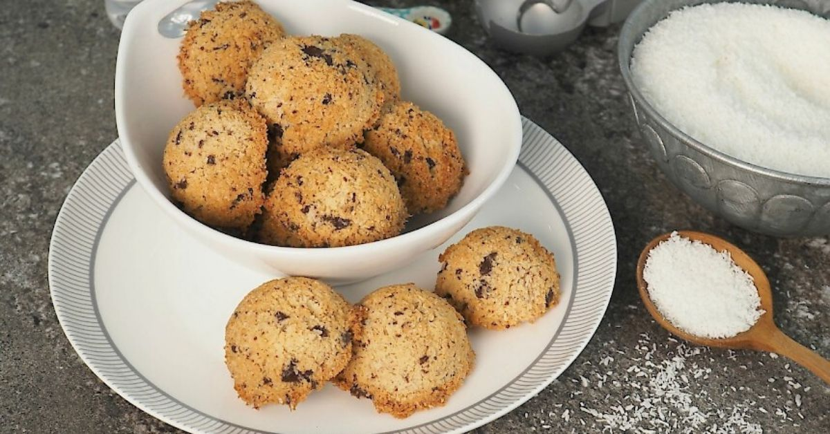 a photo of a bowl of susan joy's choc chip coconut macaroons