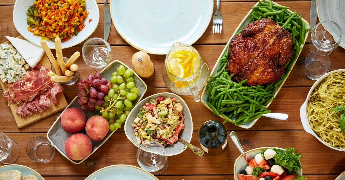 photo of a feast of food laid out on a table for easter celebrating the resurrection of christ