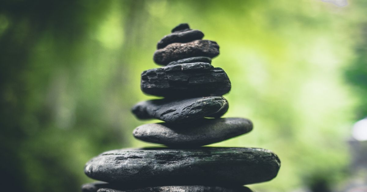 photo of a cairn in a rainforest
