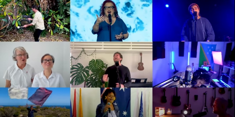 photo depicts a collage of singers representing different churches in the blessing australia