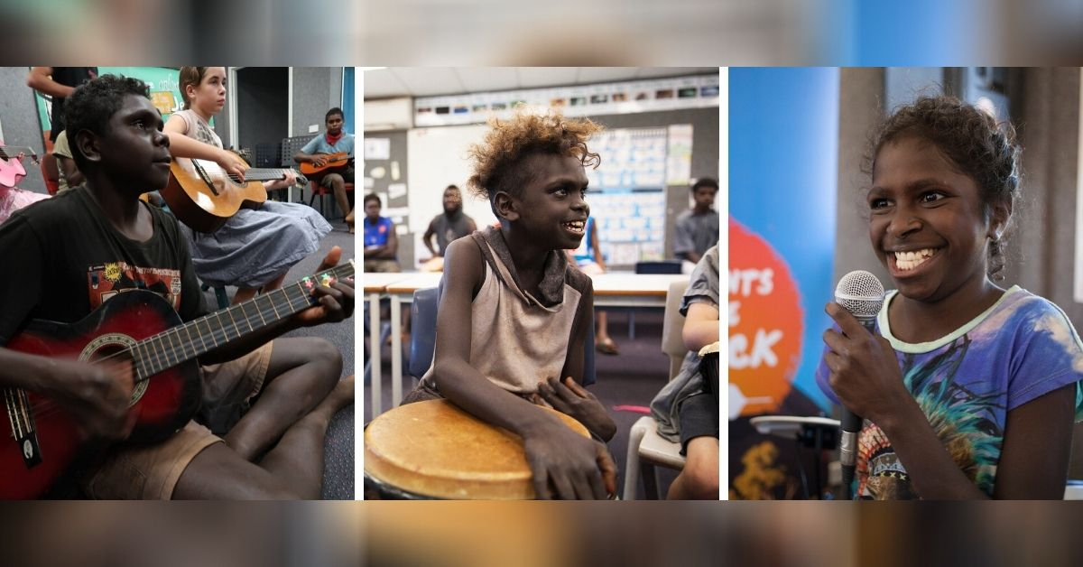 indigenous children with instruments in the instruments for the outback program