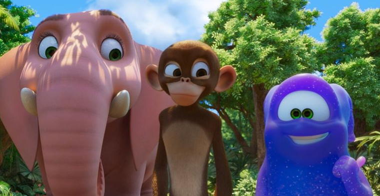 elephant, monkey and alien from the jungle beat movie