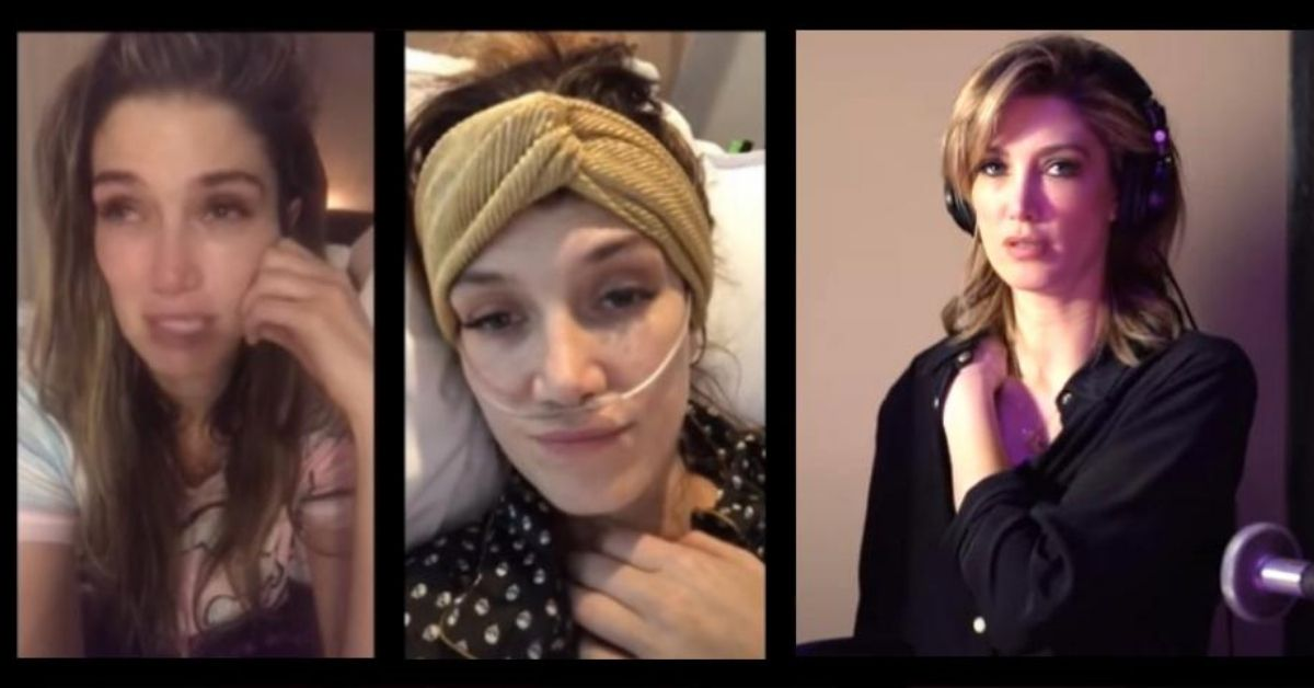 screenshots from delta goodrem's video sharing her story behind the song paralyzed
