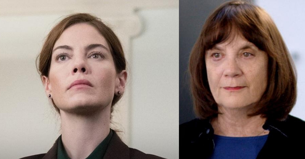 Above: (L-R) Michelle Monaghan stars in 'Saint Judy'; the real Judy Wood.