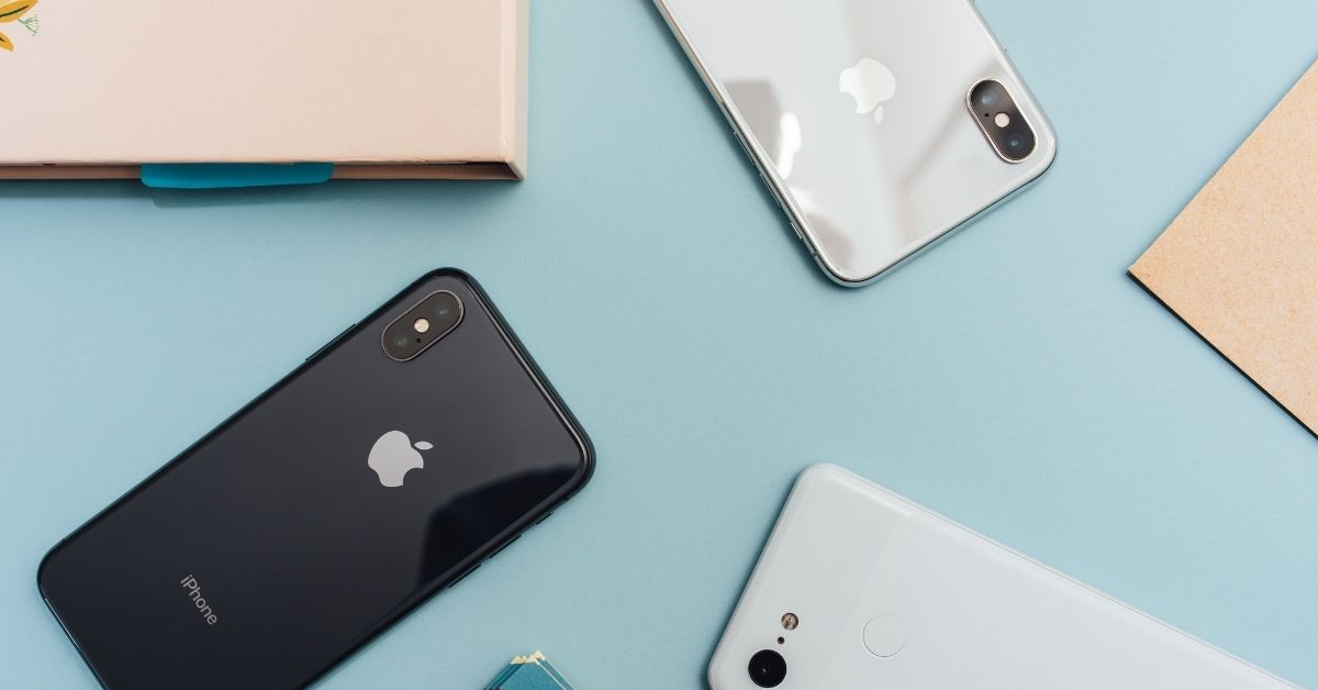 iphones in a flat lay