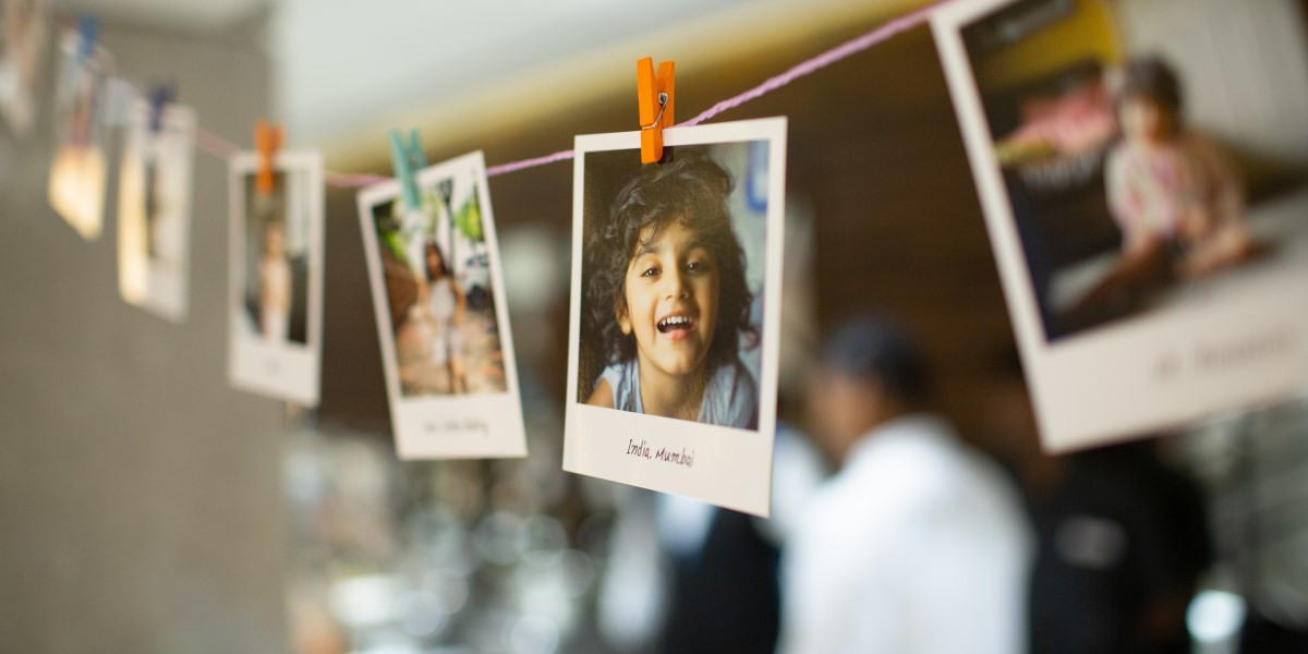 String of photographs with focus on young indian boy