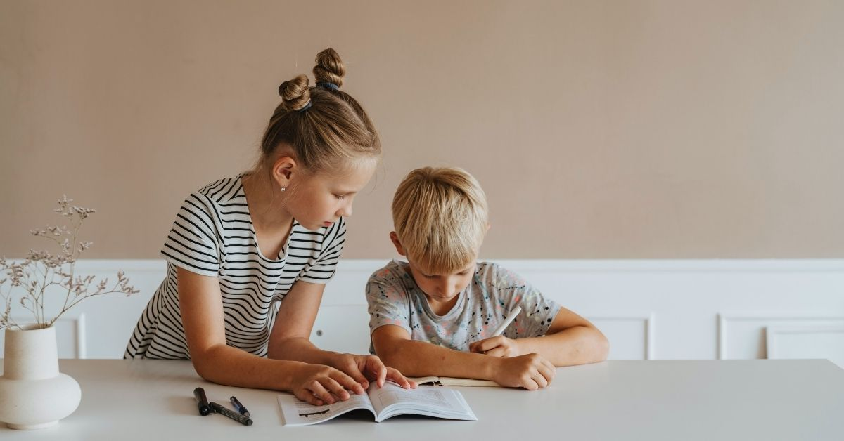 two young siblings studying