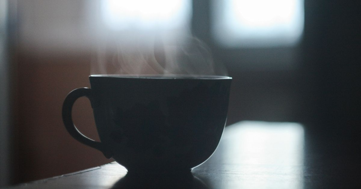 hot tea on a benchtop