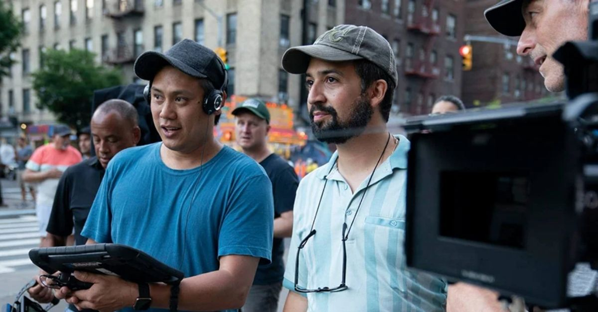 producers and camera crew on the set of in the heights
