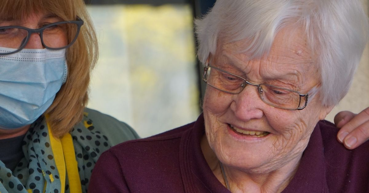 aged care worker with a client