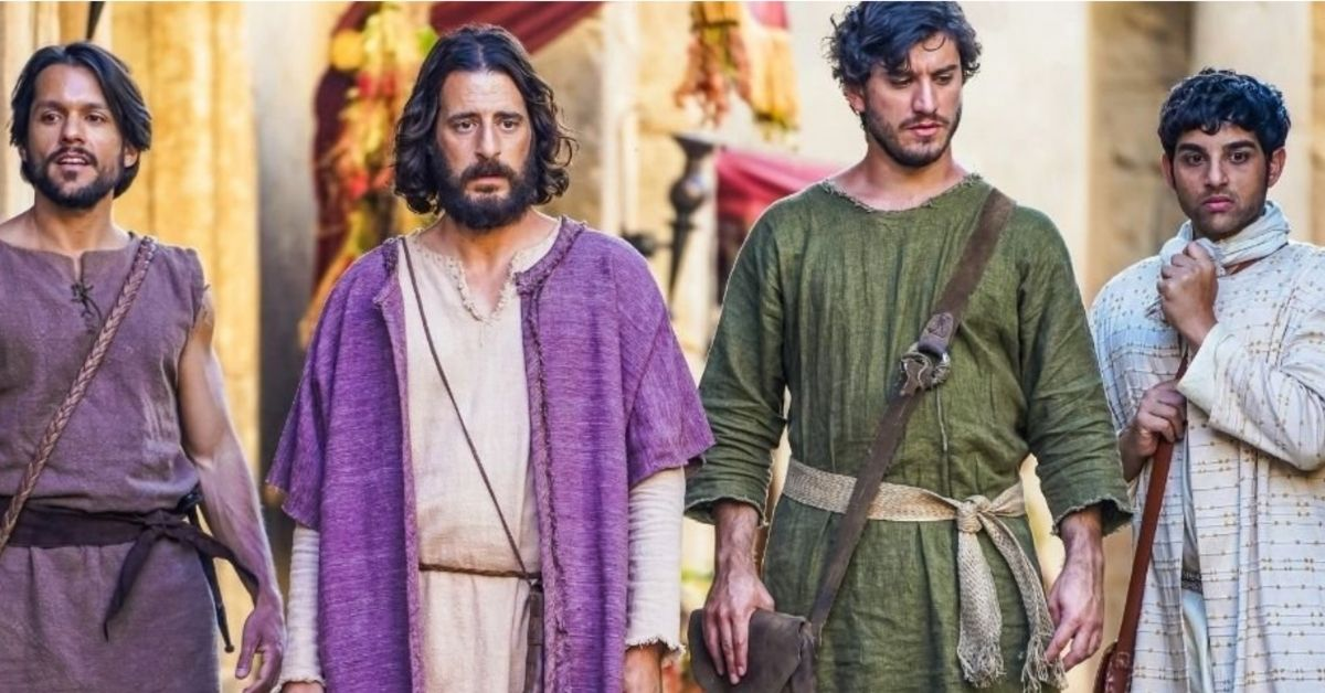 the character of jesus walking with his disciples in the tv show, the chosen